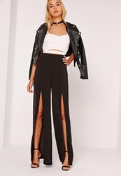 Missguided Wide Leg Hammered Satin Split Trousers Black Black
