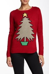 Joseph A Gold Christmas Tree Sweater Red