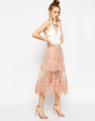 Asos Prom Skirt In Embroidered Lace Mesh Beige
