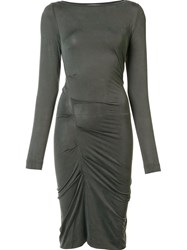 Nicole Miller Gathered Fitted Dress Grey