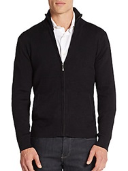 Saks Fifth Avenue Ribbed Zip Front Sweater Black