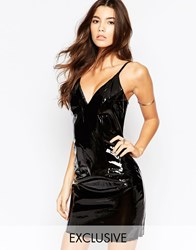 Naanaa Allover Latex Plunge Front Mini Dress Black