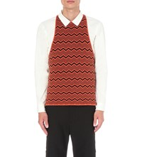 Wales Bonner Depara Knitted Merino Wool Vest Burnt Orange
