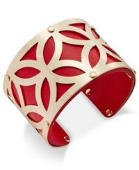 Charter Club Gold Tone Filigree Leather Look Open Cuff Bracelet Only At Macy's Red