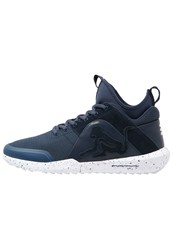 Drunknmunky Denver Chrome Hightop Trainers Navy Blue Grey Dark Blue