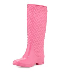 Ccilu Equestrian Diagonal Quilted Tall Rain Boot Pink