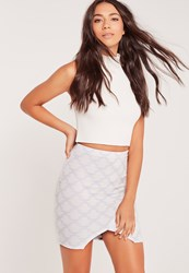 Missguided Patterned Asymmetric Split Front Mini Skirt Multi Multi