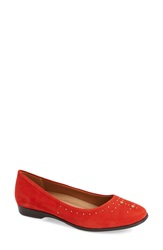 Naturalizer 'Joana' Studded Ballet Flat Women Red Suede