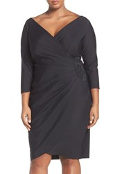 Alex Evenings Plus Size Women's Embellished Side Ruched Cocktail Dress