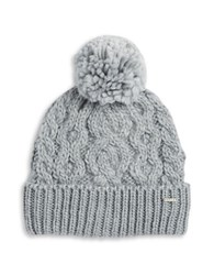 Rella Cable Knit Pom Pom Accented Fleece Lined Beanie Heather Grey