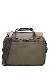 Filson Padded Twill Laptop Bag With Leather Green