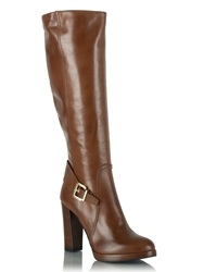 Daniel Elation Leather Buckled Knee High Boots Brown
