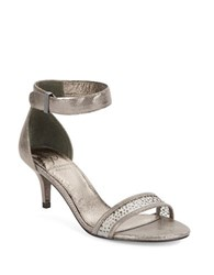 Adrianna Papell Avril Leather Open Toe Sandals Pewter