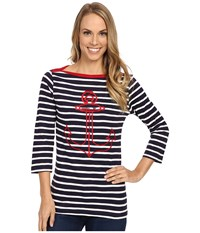 Hatley Breton Top Embroidered Anchor Women's Clothing Black