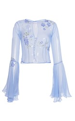 Luisa Beccaria Chiffon Blouse With Wide Sleeves And Embroidered Flowers Blue