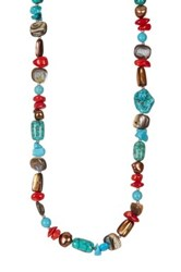 Peyote Bird Sterling Silver Turquoise Howlite Magnesite Coral Abalone Shell And 3Mm Freshwater Pearl Necklace Multi