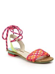 Sophia Webster Nia Woven Leather Ankle Tie Sandals Orange Magenta
