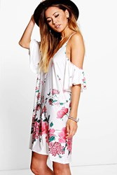 Boohoo Ruffle Cold Shoulder Floral Dress Cream