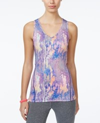 Jessica Simpson The Warm Up Juniors' Cutout Compression Tank Top Only At Macy's Neon Marble