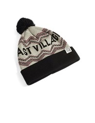 Tuck Shop Co. East Village Striped Pompom Beanie Cream