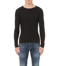 Replay Enzyme Wash Cotton Jumper Black