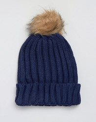 7X Cable Hat With Faux Fur Bobble In Navy Navy