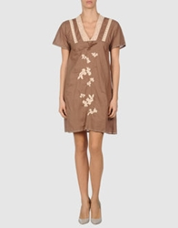 Local Apparel Short Dresses Brown
