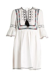 Talitha Diamond Embroidered Cotton Dress White Multi