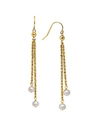 Lord And Taylor 5Mm White Freshwater Pearl 14K Yellow Gold Drop Earrings