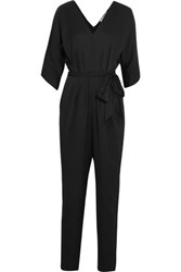 Milly Stretch Silk Crepe Jumpsuit Black