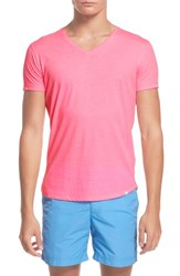 Orlebar Brown Men's V Neck T Shirt Bright Aloha Pink