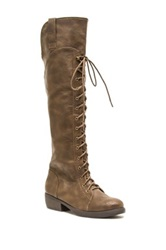 Qupid Prim Lace Up Boot Brown
