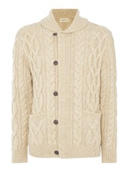 Denim And Supply Ralph Lauren Shawl Neck Cable Front Cardigan Ecru