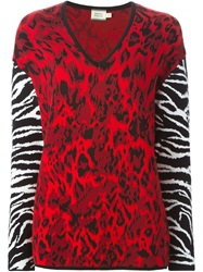 Fausto Puglisi Animal Print Sweater Red
