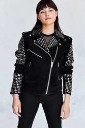 Understated Leather Us By Studded Suede Moto Jacket Black
