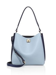 Mcm Milla Large Two Tone Leather Hobo Bag Sky Blue