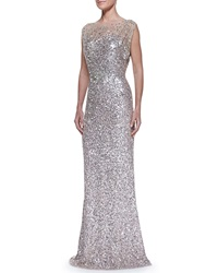 Jenny Packham Beaded And Sequined Gown Silver Nude