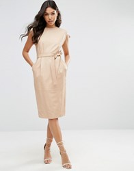 Asos Leather Split Sleeve Dress With Tie Belt Pink