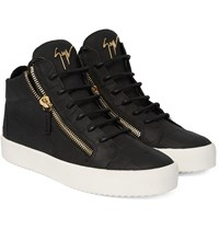 Giuseppe Zanotti Croc Effect Matte Leather High Top Sneakers Black