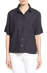 Women's Eileen Fisher Organic Linen Elbow Sleeve Shirt Denim