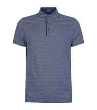 Boss Striped Cotton Polo Top Male Navy