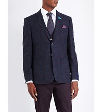 Ted Baker Tight Lines Modern Fit Checked Blazer Dark Blue