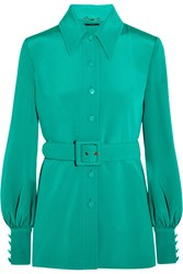 Gucci Belted Silk Twill Blouse Turquoise