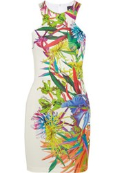 Just Cavalli Printed Stretch Ponte Mini Dress Green
