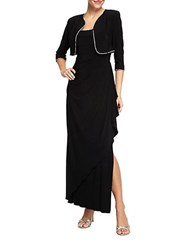 Alex Evenings Jersey Side Draped Gown With Bolero Jacket Black