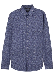 Paul Smith Navy Floral Print Cotton Shirt
