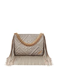 Brian Atwood Nina Fringed Lamb Leather Shoulder Bag Grey