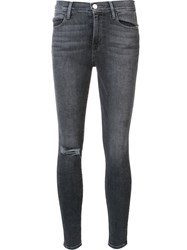 Frame Denim Distressed Skinny Jeans Grey