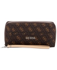 Guess Delaney Large Zip Around Wallet Brown Logo