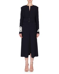 Victoria Beckham Long Wool Blend Coat W Contrast Lace Appliques Navy